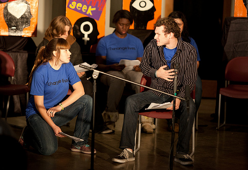 "Rehearsing ""Outside the Box,"" one of the Ensemble's original plays"